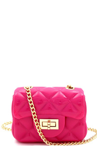 Quilted Effect Turn-Lock Jelly Mini Cross Body