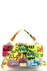Graffiti Effect 2 in 1 Transparent Clear 2 Way Medium Satchel