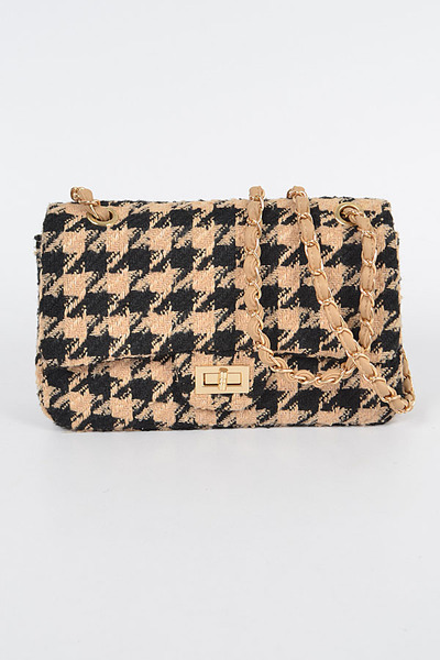 Houndstooth Tweed Shoulder Bag