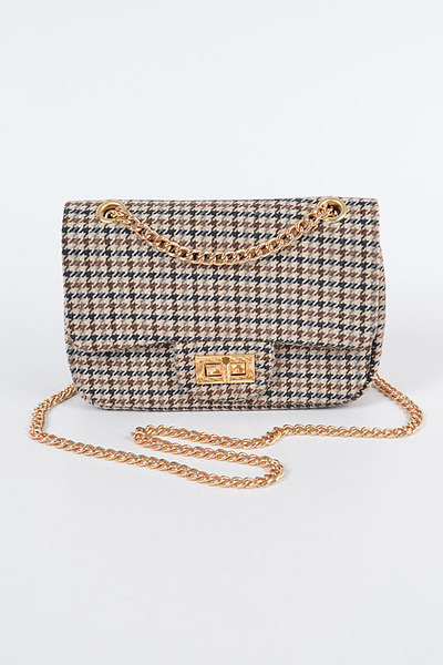 Tweed Houndstooth Clutch