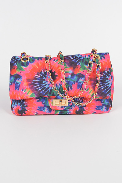 Tie Dye Print Shoulder Bag