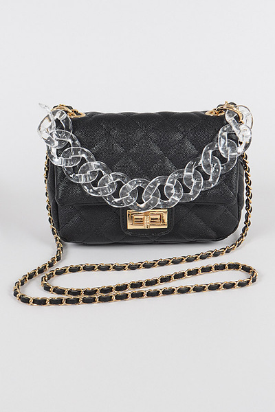Faux Leather Bag W/clear Chain