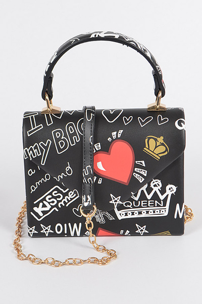 Paris Graffiti Handle Clutch