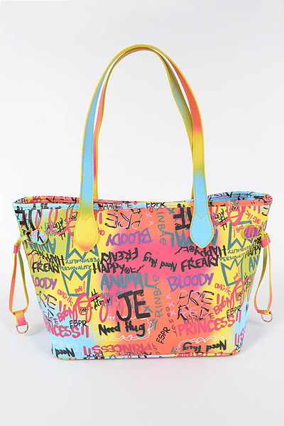Multi Graffiti Tote Bag