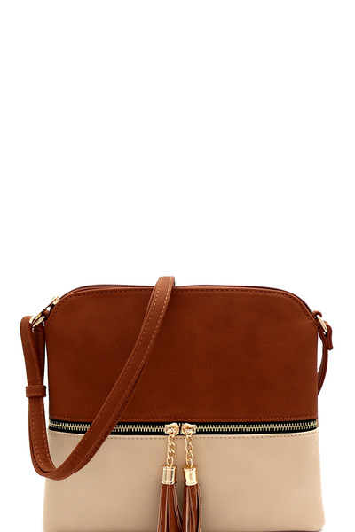 Two-Tone Front Pocket Tassel Accent Cross Body
