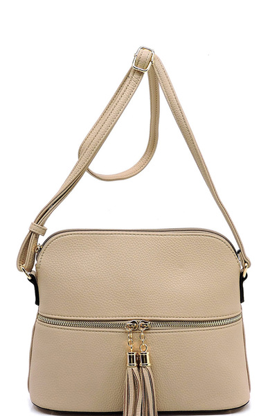 Fashion Tassel Zip Dome Crossbody Bag Satchel
