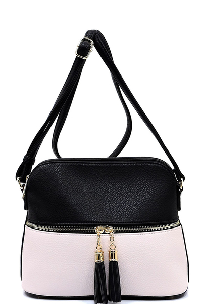 Fashion Tassel Colorbloack Zip Dome Crossbody Bag Satchel