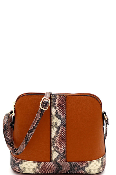 Snake Print Accent Dome-Shaped Cross Body