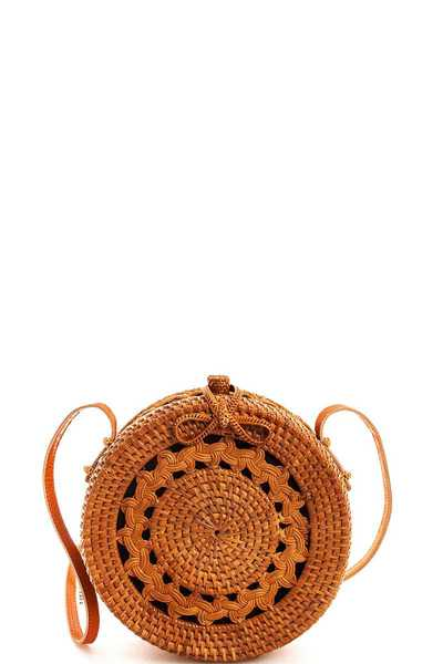 Street Level Natural Woven Round Shoulder Bag