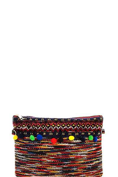 CHIC WOVEN MULTI DANGLE CLUTCH WITH LONG STRAP