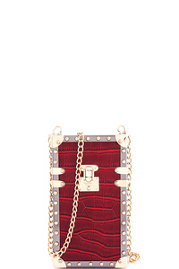 Fashion Rectangle Hard Shell Clutch with Chain