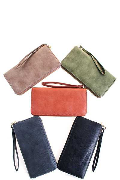 Modern Chic Long Wallet with Wristlet