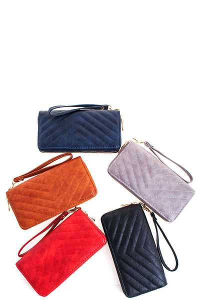 Fashion V Stitch Long Wallet with Wristlet