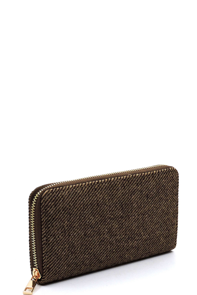 Napped Twill Fabric Zip Around Wallet