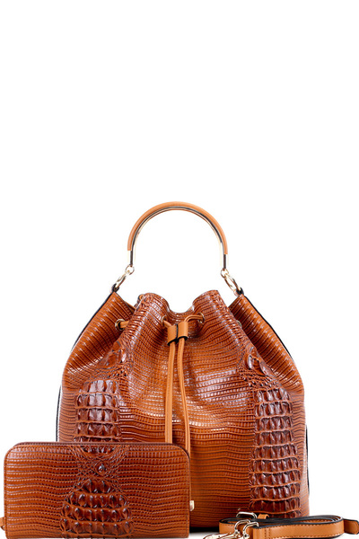 Crocodile Print 2-Way Drawstring Bucket Satchel Wallet SET