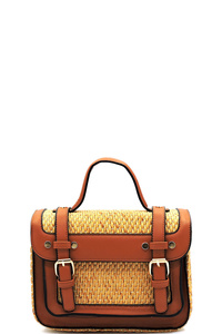 Straw Buckle Flap Boxy Satchel