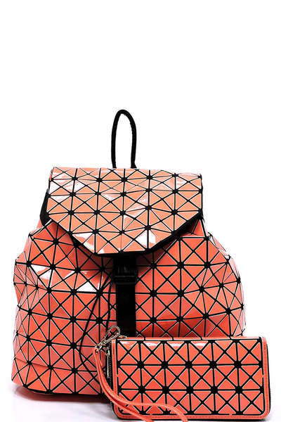 Geometric Checkered Drawstring 2-in-1 Backpack
