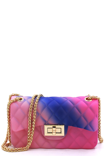 Quilt Embossed Multi Color Jelly Classic Shoulder Bag