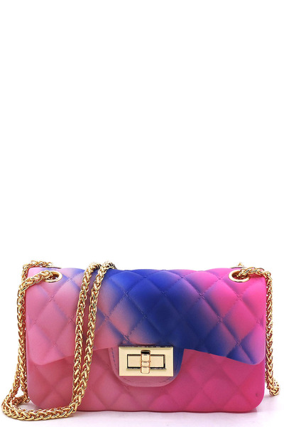 Quilt Embossed Multi Jelly Classic Shoulder Bag