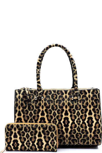 Leopard Multi Compartment 2-in-1 Boxy Satchel