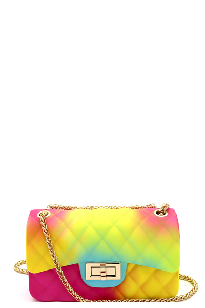 Quilted Matte Jelly Small Turn-Lock Shoulder Bag