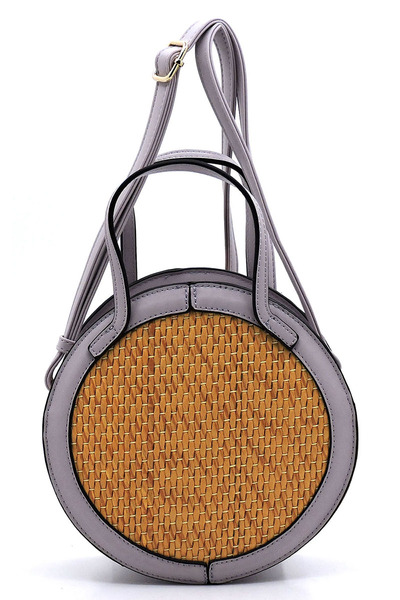 Fashion Straw Round 2-way Crossbody Bag