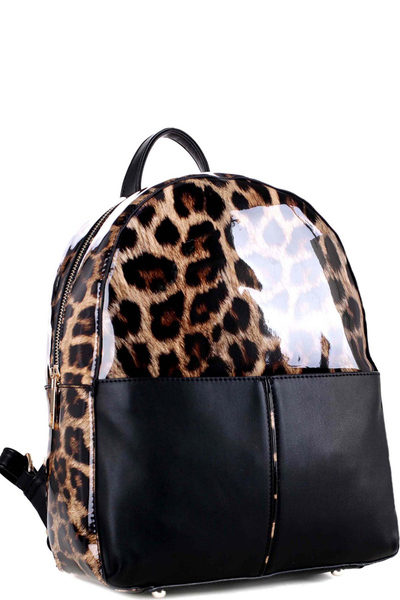 Leopard Print Patent Multi-Pocket Fashion Backpack