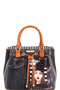 Nicole Lee Washing Denim Paola Satchel With Long Strap