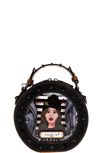 NICOLE LEE DENIM GRAPHIC SMALL CIRCLE BAG