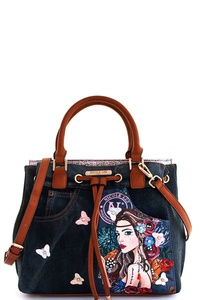 Nicole Lee Angelina Print Denim Satchel with Long Strap