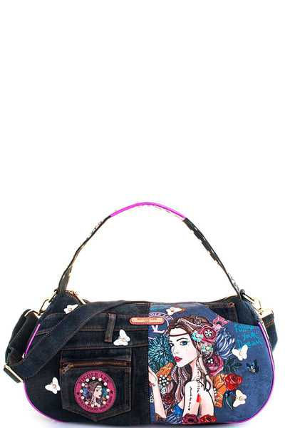 Nicole Lee BOHEMIAN DENIM HANDBAG