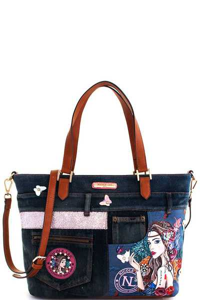 Nicole Lee BOHEMIAN DENIM SHOPPER BAG
