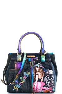 Nicole Lee VIvian Print Denim Satchel with Long Strap