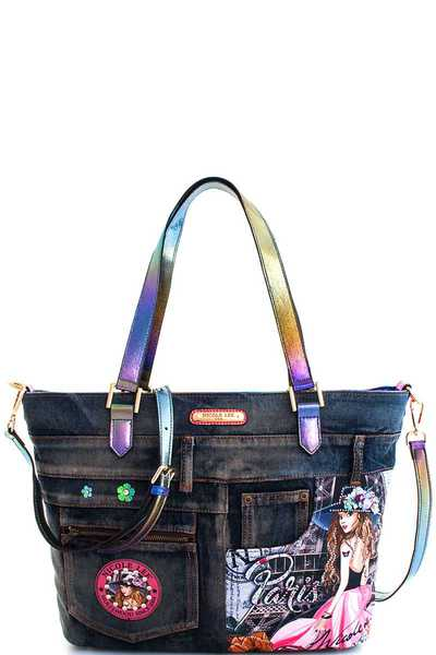 Nicole Lee Vivian Print Denim Shopper with Long Strap