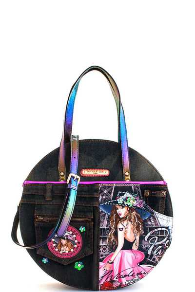 Nicole Lee Vivian Print Denim Circle Satchel with Long Strap