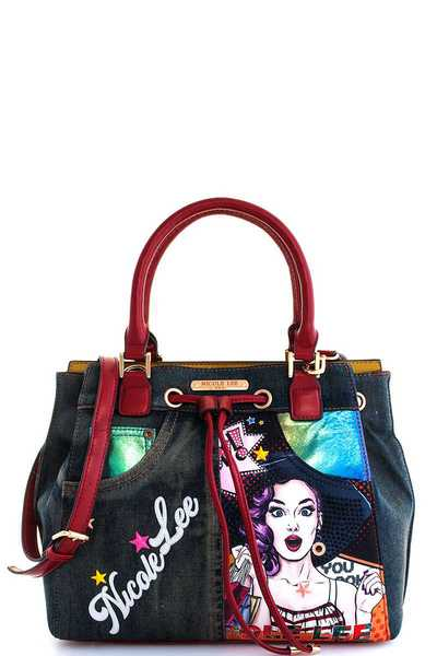 Nicole Lee Wow Lucy Print Satchel with Long Strap