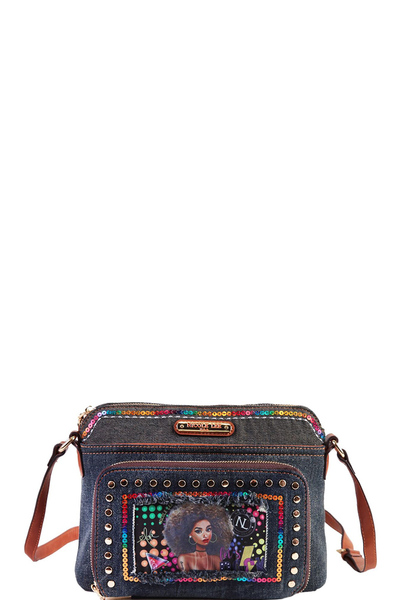NICOLE LEE SEQUIN DENIM CROSSBODY BAG