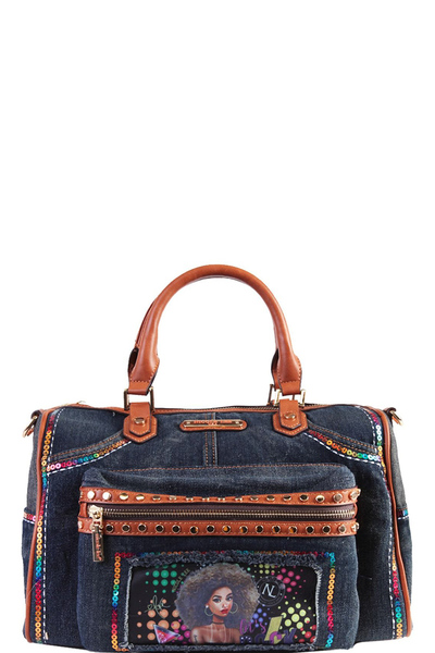NICOLE LEE SEQUIN DENIM BOSTON BAG