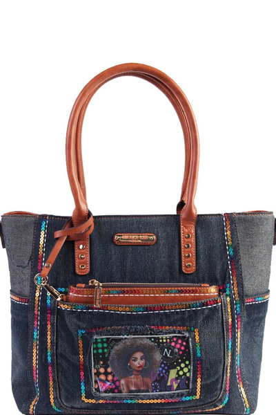 NICOLE LEE SEQUIN DENIM SHOPPER BAG