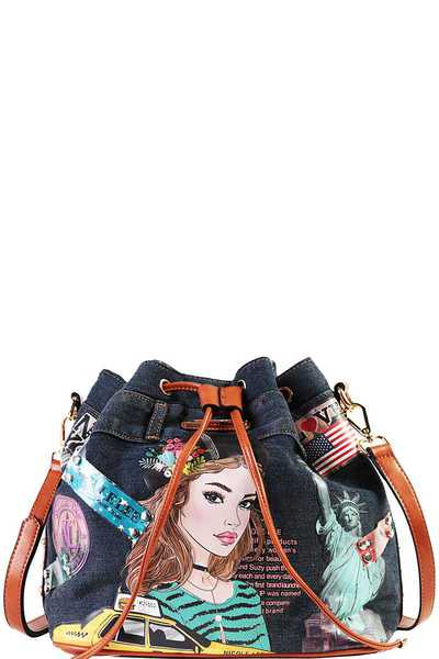 Nicole Lee NEW YORK DENIM BUCKET BAG