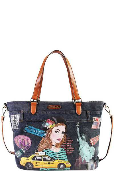 Nicole Lee NEW YORK DENIM SHOPPER BAG