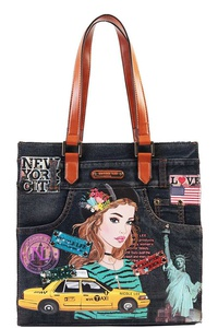 Nicole Lee NEW YORK DENIM TOTE HANDBAG