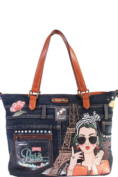 NICOLE LEE PARIS DENIM SHOPPER BAG