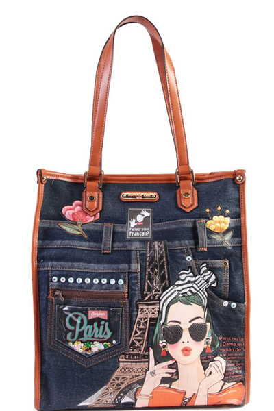NICOLE LEE PARIS DENIM TOTE HANDBAG