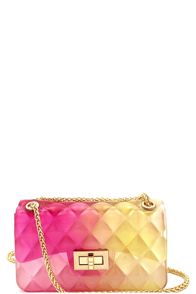 Translucent Embossed Jelly 2-Way Small Shoulder Bag