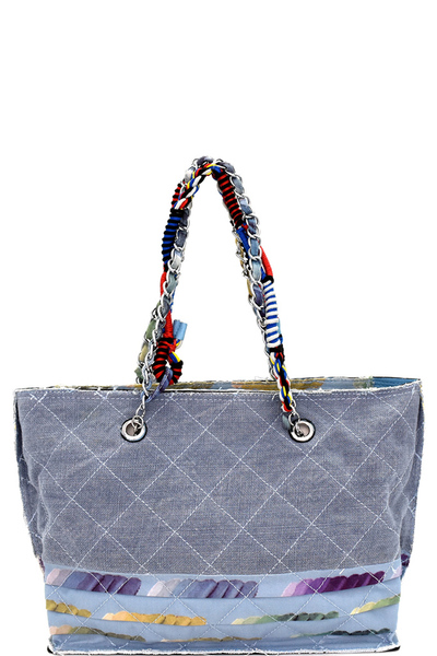 Vintage Patchwork Quilted Canvas Chain Tote