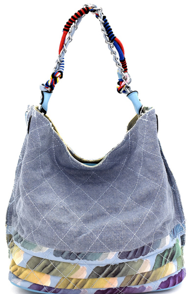 Vintage Patchwork Quilted Canvas Hobo