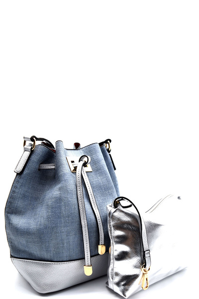 Linen-like Faux-leather 2 in 1 Drawstring Bucket Shoulder Bag