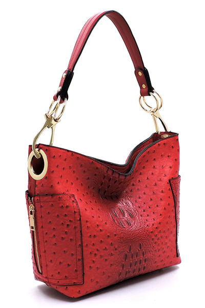 Ostrich Croc Side Zip Pocket Shoulder Bag