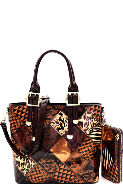 Animal Print Patchwork Buckle Satchel Wallet Set